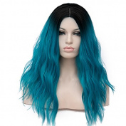 U-power68 Cosplay Halloween Wig Medium Length Curly Wave Dye Dark Roots Ombre Wigs Hair +Wig Cap