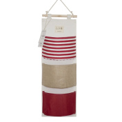 YOUOR Linen Cotton Fabric Wall Door Closet Hanging Storage Bag 3 Pockets Over the Door Organiser