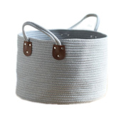 36cm x 26cm Cotton Woven Rope Storage Baskets Bins Hamper with Handles for Nursery,Toys Storage,Laundry,
