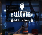 Dnven (White, 70cm W X 60cm H) Happy Halloween Trick or Treat Dreadful Owl Pumpkins Smile Faces Wall Decals Window Mirror Stickers Halloween Decorations for Kids Rooms Nursery Halloween Party