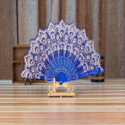 Chinese/Spanish Style Dance Wedding Party Lace Silk Folding Hand Held Flower Fan,Tuscom