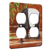 2 Gang AC Outlet Wall Plate - Tapir at River Bank Wildlife Art by Denise Every