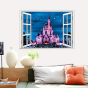 Sticker Wall, ZTY66 3D Fake Castle Decal PVC Mural Sticker for DIY Home Decor