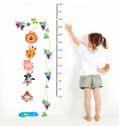 BIBITIME Snail Grape Vine Height Chart Animal Growth Charts Branch Hanging Lion Tiger Pig Dog Monkey Fishing Pool Moon Wall Decal Sticker for Nursery Kids Room Decor