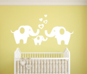 Elephant Family Wall Decals Removable Vinyl Wall Sticker Elephant Wall Decorative Unisex Wall Sticker for Baby Nursery Kids Room, White