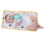KAKIBLIN 2-in-1 Baby Waterproof Portable Nappy Pad Anti-Flat Head and Neck Support Pillow Yellow Flaky Clouds