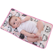 KAKIBLIN 2-in-1 Baby Waterproof Portable Nappy Pad Anti-Flat Head and Neck Support Pillow Pink Cat