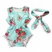 TRENDINAO Newborn Infant Girls Floral Romper+Headband Clothes Outfits