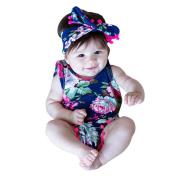 TRENDINAO Newborn Baby Girls Clothes Floral Sleeveless Romper Bodysuit+Headband