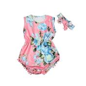 TRENDINAO Newborn Baby Girls Romper Floral Sleeveless Jumpsuit+Headband Clothes