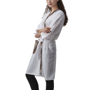 Colorfulife Salon Client Gown Robe Smock Kimono with 2 Front Leopard Pocket Hairdressing Cape Dress Beauty SPA Hotel Guest Clothes Night-gown Wrap