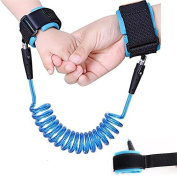FlyingP Baby Kids Anti Lost Wrist Link Safety Hook and loop Harness Strap Rope Leash Walking Hand Belt for Toddlers Children Boys Girls Blue Cable Length of 1.5 m
