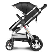 Besrey 2 in 1 Newborn Baby Stroller for Infant Folding Convertible Baby Carriage Luxury High View Anti-shock Infant Pram Stroller with Cup Holder durable Wheels