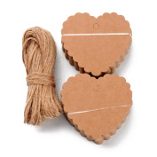 Pandahall 100pcs Brown Kraft Paper Blank Gift Tags with Hemp Yarn String Heart Hanging Tags for Crafts & Price Tags Labels Jewellery Display Paper Price Tags