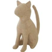 "Paper-Mache Cat Sitting-17cm x 17cm X3"""