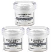 Ranger Embossing Powder White Super Fine Detail .1770ml, 3 Pack