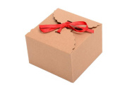 10PCS Kraft Paper Boxes - Handmade Gift Storage Bag Containers With Red Silk Ribbon For Tea//Bake