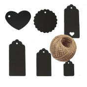 120pcs Black Assorted Shaped Heart Round Rectangular Kraft Paper Gift Tags Blank Paper Label with 30 Metres Jute Twine for Wedding Birthday Gift Decoration