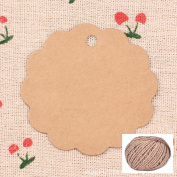 Lwestine 300PCS Kraft Paper Gift Tags Wedding Party Favours(Round Flower Card), With 60m Natural Jute Twine
