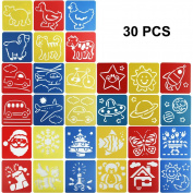 ScivoKaval 30 Pcs Painting Stencil Plastic Drawing Spraying Templates for Kids Crafts, Washable Template Cute Patterns for School Projects, Assorted Colours