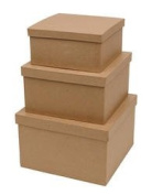 Factory Direct Craft Handcrafted Paper Mache Square Boxes - 3 Boxes