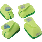 Constructive Playthings MVY-4 Jumbo 2.5cm Shape Design Paper Punches Set of 4, Grade