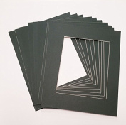 10 PACK - Charcoal 8x10 Photo Mat Board with 5x7 Bevelled Opening - Fits 8x10 Frame