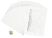 Mat Board Centre, Pack of 25, White Pre-Cut 5x7 Picture Mat with White Core for 4x6 Pictures