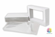Mat Board Centre, Pack of 25 White Pre-Cut 5x7 Picture Mat for 4x6 Photo with White Core Bevel Cut Mattes Sets. Includes 25 High Premier Acid Free Bevel Cut Matts & 25 Backing Board & 25 Clear Bags