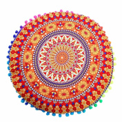 Clearance! ZOMUSA Indian Mandala Floor Pillows Round Bohemian Cushion Pillows Cover Case