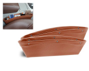 DSstyles 2 Pieces Leather Car Seat Side Pockets Car Caddy Slit Pocket Catcher Car Seat Side Organiser - Brown