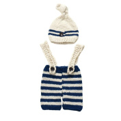Newborn Baby Girls Boys Crochet Knit Overall Romper Hat Set Photo Photography Prop Outfits