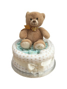 My First Teddy Neutral Unisex One Tier Nappy Cake
