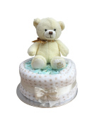 My First Teddy Neutral Unisex Cream One Tier Nappy Cake