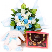 Luxury baby gift basket containing baby bouquet, luxury box of chocolates and a soft rabbit toy suitable from birth size 0-6 months, baby boy hamper gift ideal welcome to the world gift, corporate baby gift, maternity leave gift basket