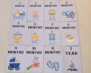 BABY BOY MILESTONE CARDS MONTHS 1-11 & 1 YEAR BABY SHOWER GIFTS