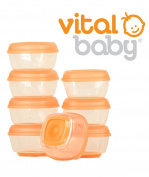 Baby Food Pots Press 'n' Pop Mini Freezer Weaning Cubes Storage Box Vital 8 Pk