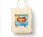 Merry Christmas And Happy New Year Snow And Deers - Tote Bag, Natural Shopping Bag, Environmentally Friendly Eco Friendly