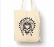 Native American Skull With Head Dress - Tote Bag, Natural Shopping Bag, Environmentally Friendly Eco Friendly