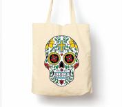 Mexican Day Of The Dead Dia De Muertos Sugar Skull 2 - Tote Bag, Natural Shopping Bag, Environmentally Friendly Eco Friendly