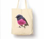 Pink Robin - Tote Bag, Natural Shopping Bag, Environmentally Friendly Eco Friendly