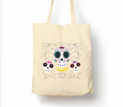 Sugar Skulls Black Day Of The Dead Dia De Muertos - Tote Bag, Natural Shopping Bag, Environmentally Friendly Eco Friendly