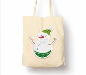 Snowman Christmas - Tote Bag, Natural Shopping Bag, Environmentally Friendly Eco Friendly