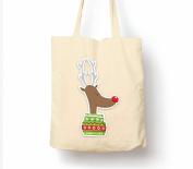 Rudolph Stocking - Tote Bag, Natural Shopping Bag, Environmentally Friendly Eco Friendly