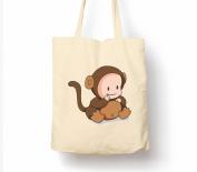 Cute Baby Animals Cheeky Monkey - Tote Bag, Natural Shopping Bag, Environmentally Friendly Eco Friendly