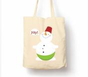 Snowman Saying Yay Christmas - Tote Bag, Natural Shopping Bag, Environmentally Friendly Eco Friendly