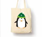 Happy Christmas Penguin - Tote Bag, Natural Shopping Bag, Environmentally Friendly Eco Friendly