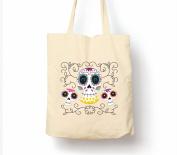 Sugar Skulls Day Of The Dead Dia De Muertos - Tote Bag, Natural Shopping Bag, Environmentally Friendly Eco Friendly