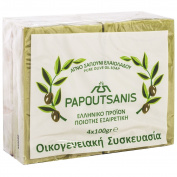 """Green Pure Olive Oil Soap Greek Traditional """"Papoutsanis"""" - Pack of 4 x 100g"""