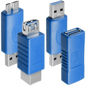 4 Kinds of USB 3.0 Adapters, AFUNTA USB 3.0 Type-A Female to Female and Male to Male, Type A Female to B Female, Micro-B Male to TypeA Male, High Convert Speed Extension Coupler Connector